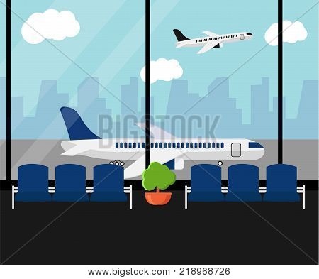Airport waiting room or departure lounge with chairs and plant. Terminal hall airfield view on airplanes. Airport horizontal banner. Business travel concept.  Flat style vector Illustration.
