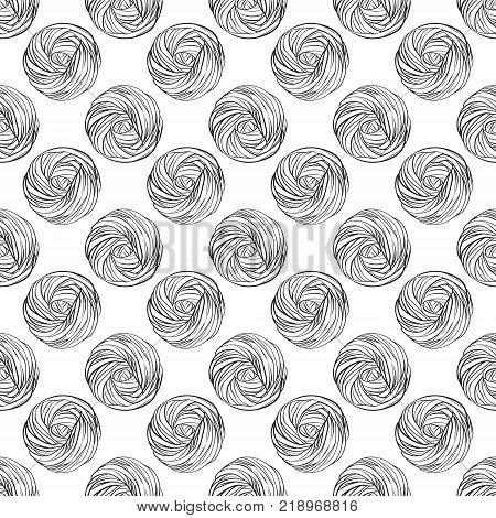 Yarn ball pattern in hand drawn style.  illustration