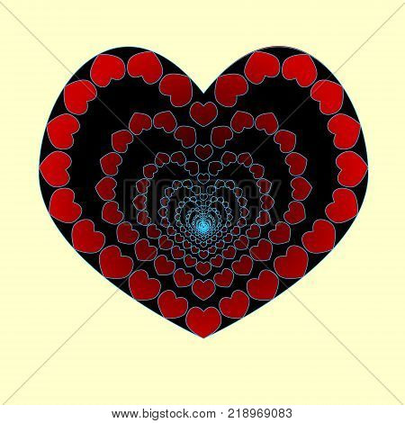The heart is an abyss of love. In love to fall into the abyss. Heart made of small hearts. Vector. Valentine s day.