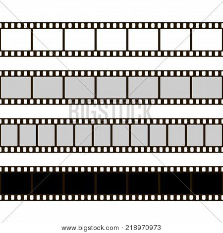 Film strip set. Collection of film for the camera. Cinema frame. Vector illustration. Template of negative on white background
