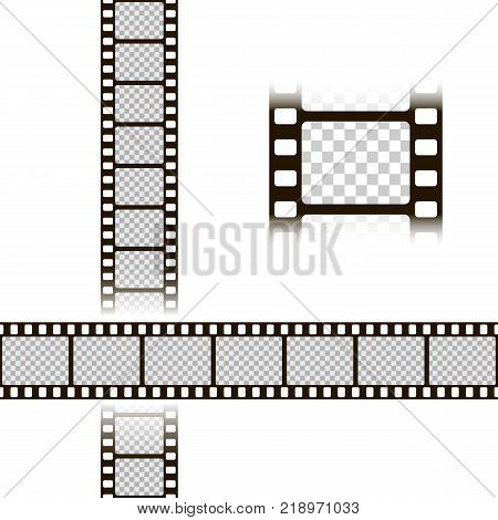 Film strip set. Collection of film for the camera. Cinema frame. Vector illustration. Template of negative isolated on white background