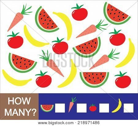 Mathematical game for preschool children. Count how many fruits berries and vegetables (banana watermelon tomato carrot). Learning numbers mathematics.