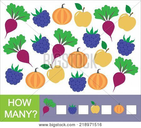 How many fruits berries and vegetables (apple blackberry beet pumpkin). Learning numbers mathematics. Counting game for preschool children.