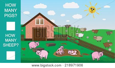 Count how many pigs and sheep educational mathematical game. Counting game for preschool children. Vector illustration.