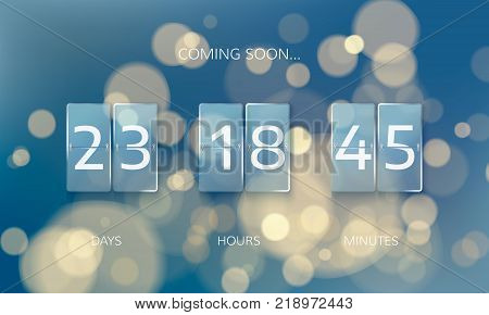 Announce countdown panel design. Count days hours and minutes. Web banner countdown to New Year. Vector illustration on blur xmas background