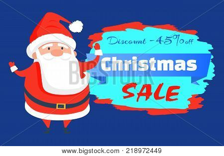 Discount -45 Christmas sale, poster made up of astound Santa Claus in red costume, hat and belt, headline and ribbon, isolated on vector illustration