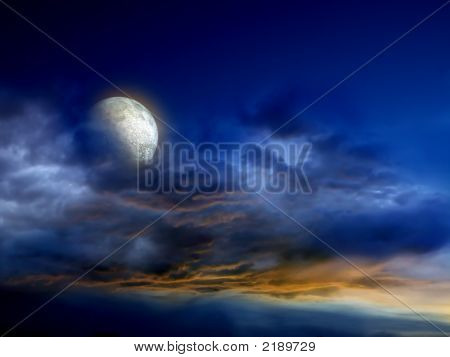 Dark Sky With Moon