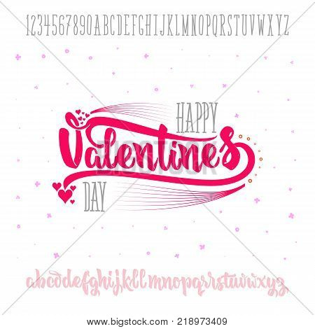 Happy Valentines Day- font. Vector alphabet. Hand Lettering script font. Typography abc for Designs: Logos, Packaging Design, Poster. ABC...