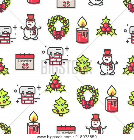 Set of Christmas theme symbols seamless pattern isolated on white background. Vector illustration with glowing candle, snowy chimney and green wreath