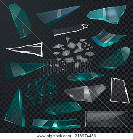 Broken glass sharp pieces vector 3d realistic shattered glassful and shatter or break mirror or glasses isolated on black transparent background illustration backdrop.