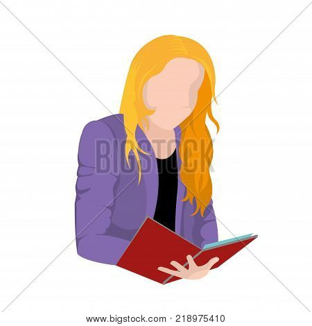 Woman reading of education literature and read theme Isolated design Vector illustration