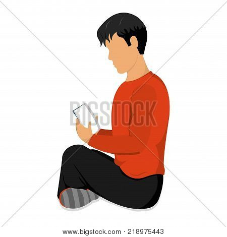 Man reading of education literature and read theme Isolated design Vector illustration