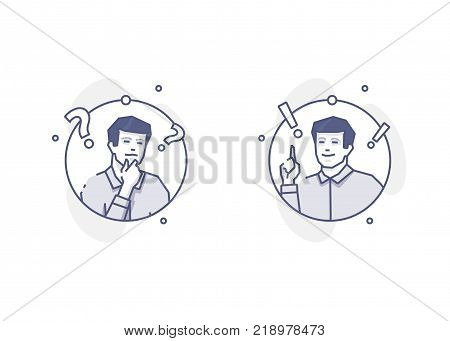 Man thinking and getting an idea with question and exclamation marks. Problem solving flat linear vector concept for info graphics or business presentations. Circle blue line design isolated on white background
