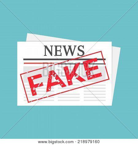 Hoax marked newspaper. Fake news stamped illustration