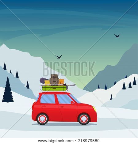 Ski Resort Snow Mountain Landscape, Skiers On Slopes, Ski Lifts, A House, A Car With The Ski Equipme