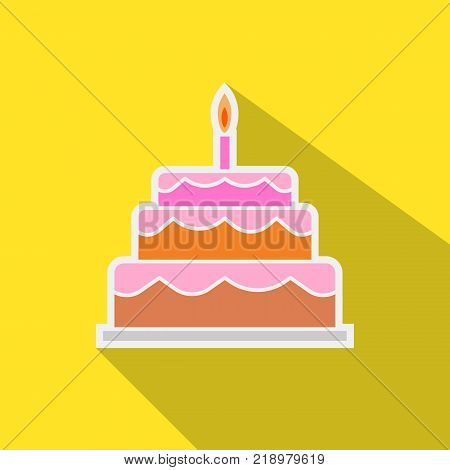 Festive cake with a candle sticker illustration