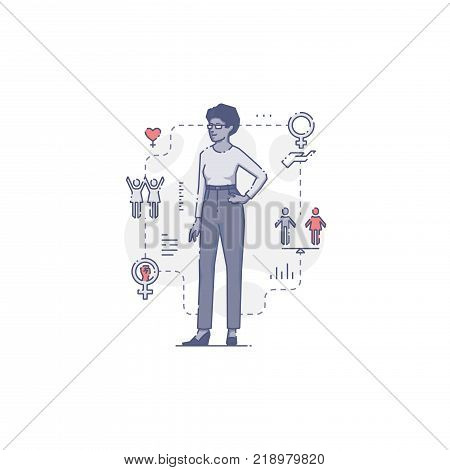 Young African-American woman standing akimbo surrounded by women's rights icons and signs. Flat line women's empowerment vector illustration for info-graphics in blue tone isolated on white background
