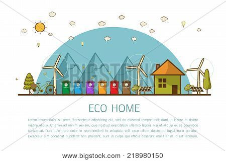 Vector illustration of recycling trash bins Municipal waste segregation management concept. flat line style concept of eco home renewable energy ecology.