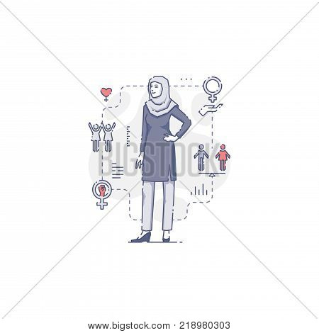 Young Middle East woman standing akimbo surrounded by women's rights icons and signs. Flat line women's empowerment vector illustration for info-graphics in blue tone isolated on white background