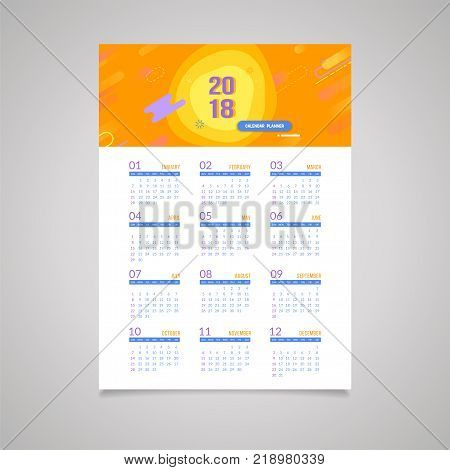 Abstract 2018 new year wall calendar template. Abstract trendy design with opacity curve shapes. Vector colorful banner