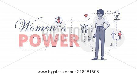 Illustrative typography horizontal banner with words 'Women's power' and African American woman standing akimbo. Women's empowerment related vector flat linear design concept