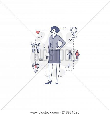 Young Caucasian woman standing akimbo surrounded by women's rights icons and signs. Flat line women's empowerment vector illustration for infographics in blue tone isolated on white background