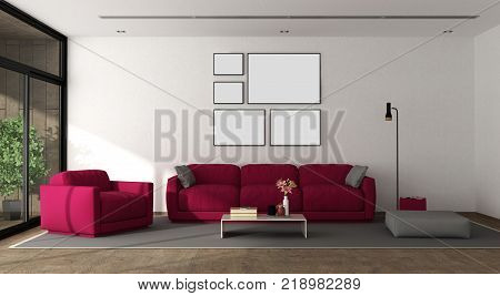 Modern living room with sofaarmchair and large window - 3d rendering