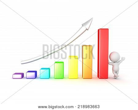 3D Character Leaning On Colorful Chart Showing Progress
