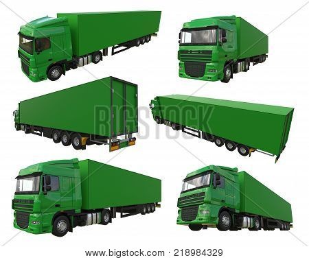 Set large green truck with a semitrailer. Template for placing graphics. 3d rendering