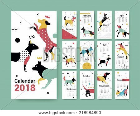Template calendar 2017 with a dog in Memphis style. Dog symbol of Chinese New Year. 12 illustrations of birds with different geometric ornaments in the style of 80-90.