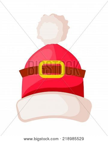 Santa Claus hat with buckle isolated. Winter fur woolen cap with white trim. Father Christmas hat headwear warm clothing. Flat icon winter snowboard accessory in cartoon style vector illustration