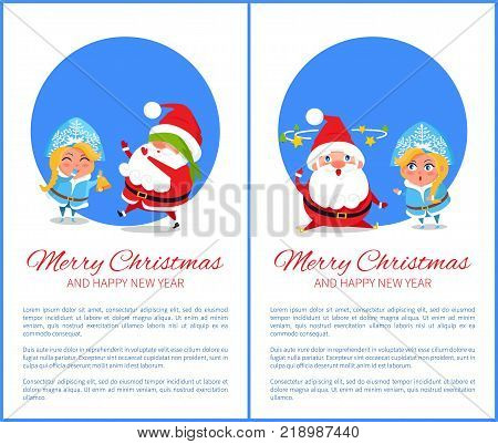 Merry Christmas and Happy New Year posters with Santa and Snow Maiden playing hide-and seek cover on eyes, searching ideas with stars over head vector