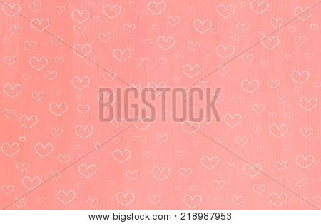 Cute heart shape on sweet pink wooden background. Lovely heart shape in abstract style on sweet pink background. Hand drawn heart shape raster pattern for Valentine theme or love concept and all design. Pink heart shape background for valentine.