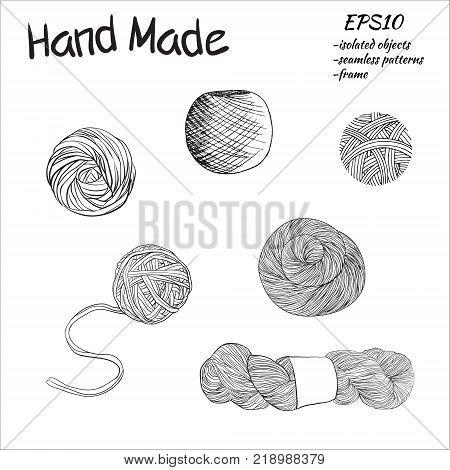 Balls of yarn for knitting.  illustration. Yarn balls set