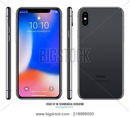 smartphone mockup in black color with colored screen front back and side on white background. stock vector illustration eps10
