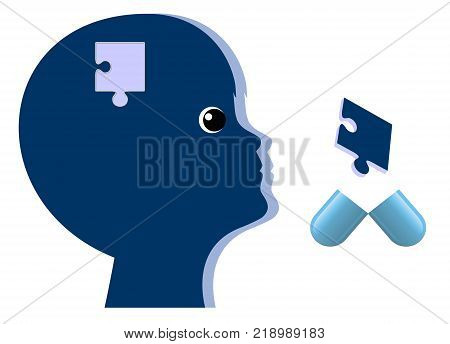Psychiatric Drugs for Children. Kid with brain disorder gets medical treatment