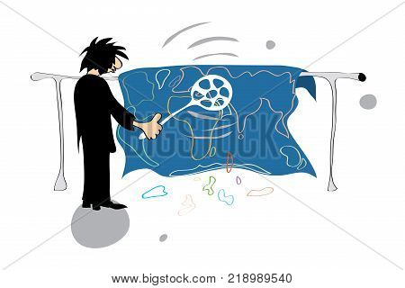 vector illustration with silhouette of a man like carving a carpet in the shape of world map on white background/ new world order