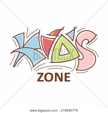 Kid zone logo, logotype, emblem lettering design, vector illustration isolated on white background. Cartoon style Kid Zone lettering for playground, playroom logo, logotype design