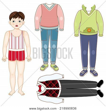 Paper doll set - little boy in underwear and collection of suits, formal and casual, cartoon vector illustration isolated on white background. Paper doll boy and set of clothes - formal and casual