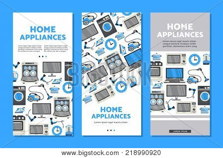 vector home appliance sale poster, banner set- tv set plasma panel laptop, microwave oven, dishwasher, gas stove, iron, electric kettle and vacuum cleaner, washing machine and hair dryer isolated icon