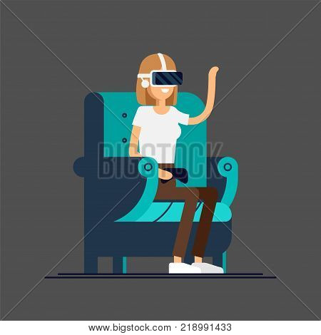 Cool vector concept on virtual reality headset in use. Girl experiences full immersion into virtual reality trying to touch non-physical object. Woman character enjoying VR device