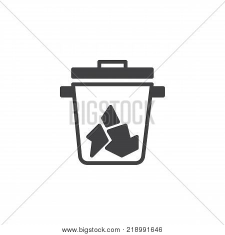 Trash can icon vector, filled flat sign, solid pictogram isolated on white. Recycle bin symbol, logo illustration.