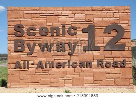 Sign of Scenic Byway 12 in Red Canyon. Utah. USA