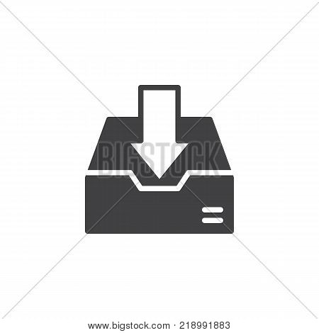 Inbox icon vector, filled flat sign, solid pictogram isolated on white. Download box symbol, logo illustration.