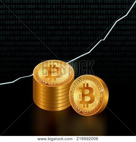 fine high detailed golden bitcoins in stacks on digital background with binary code and graphic chart