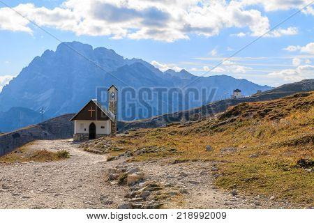 Church in the Dolomite Mountains Tre Cime di Lavaredo in Italy