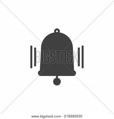 Ringing bell icon vector, filled flat sign, solid pictogram isolated on white. Notification bell symbol, logo illustration.