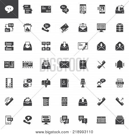 Contact and communication vector icons set, modern solid symbol collection, filled style pictogram pack. Signs, logo illustration. Set includes icons as envelope, mailbox, contact book, chat, message