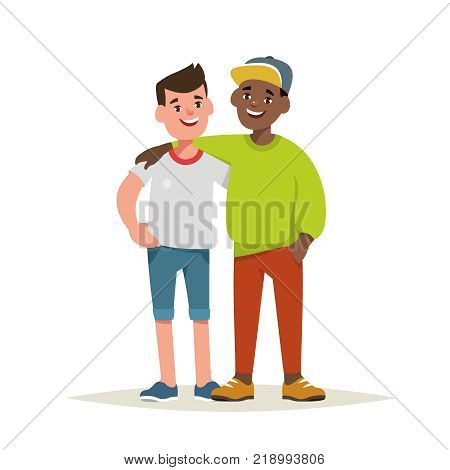 Vector illustration of couple boy friends isolated. Happy teenagers are embracing in a friendly hug