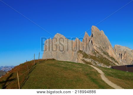 Gardena valley wonderful Seceda peak the Odle mountain range in the Dolomites in Italy